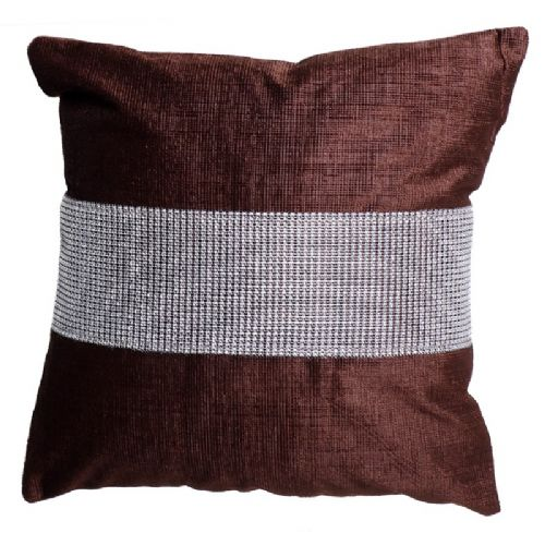 STUNNING DIAMANTE VELVET CUSHION CHOCOLATE BROWN COLOUR